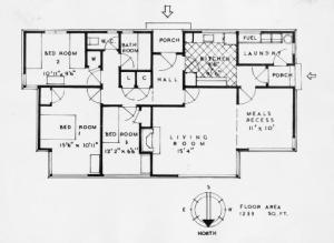 Floor plan of a 1930s state house. MNZ-2150-1/4-F. Alexander Turnbull Library. Public domain.