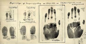 First Fingerprints taken 1859/60 by William James Herschel. Public domain.