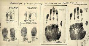 First Fingerprints taken 1859/60 by William James Herschel. Public domain.